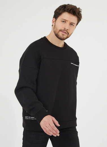 XHAN Siyah Baskılı Sweatshirt 1Kxe8-44447-02 Siyah
